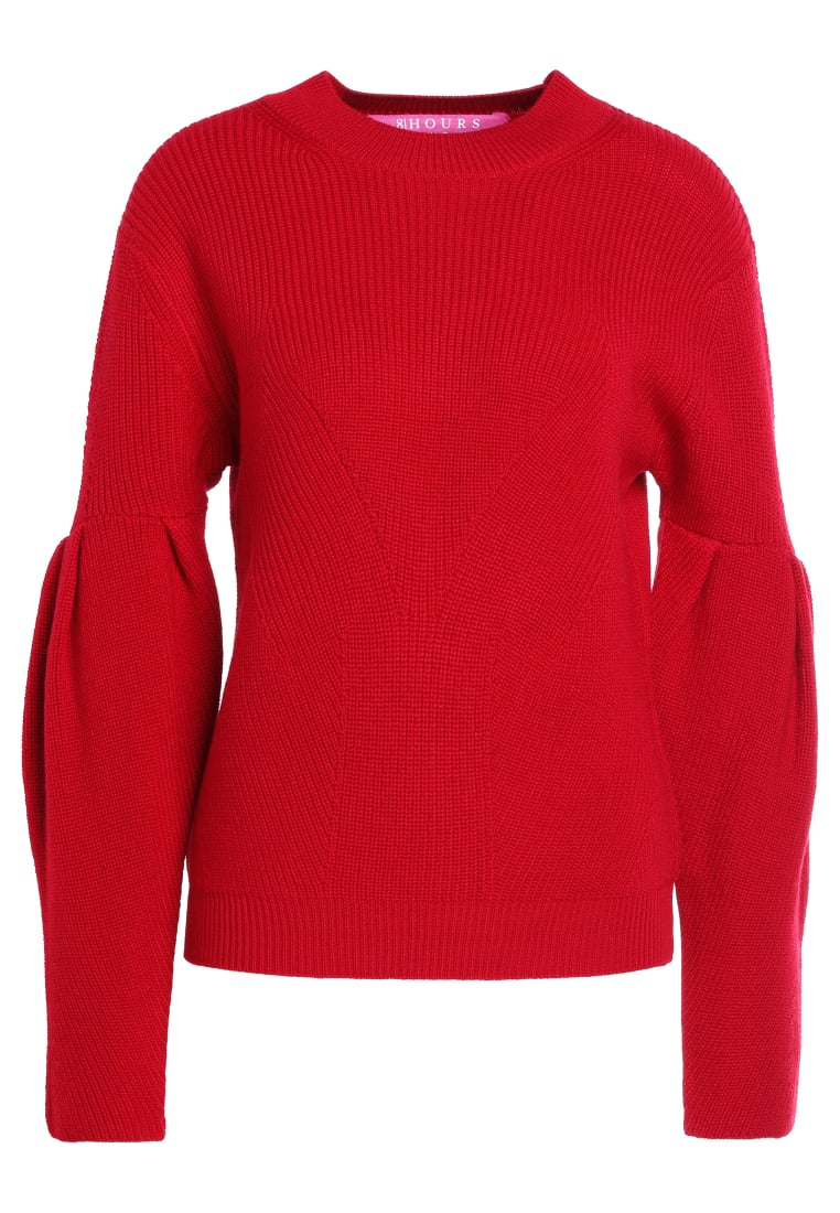 81hours Studio RIBBED PUFF SLEEVES Sweter deep red - Z81015