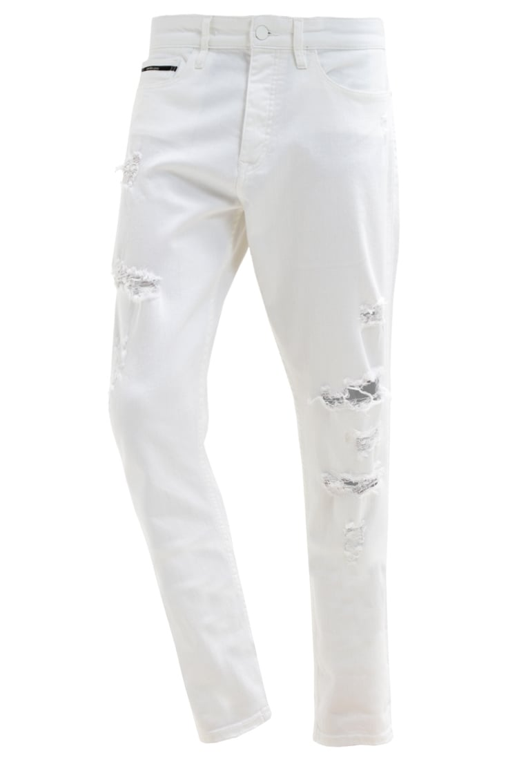 Calvin Klein Jeans TAPER Jeansy Relaxed fit white - J3DJ303998