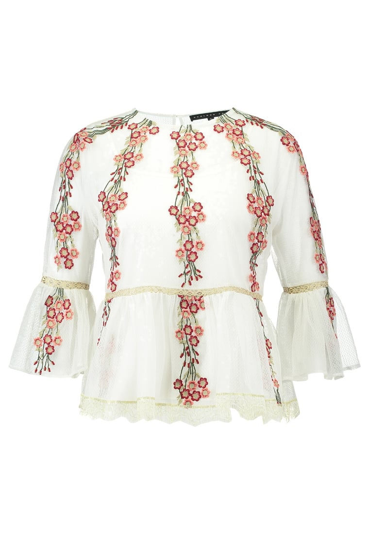 Endless Rose EMBROIDERED MESH WITH PEPLUM Bluzka off white combo