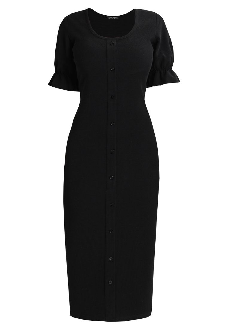 Fashion Union Petite DRESS WITH BUTTON THROUGH Sukienka z dżerseju black - FUDL01501