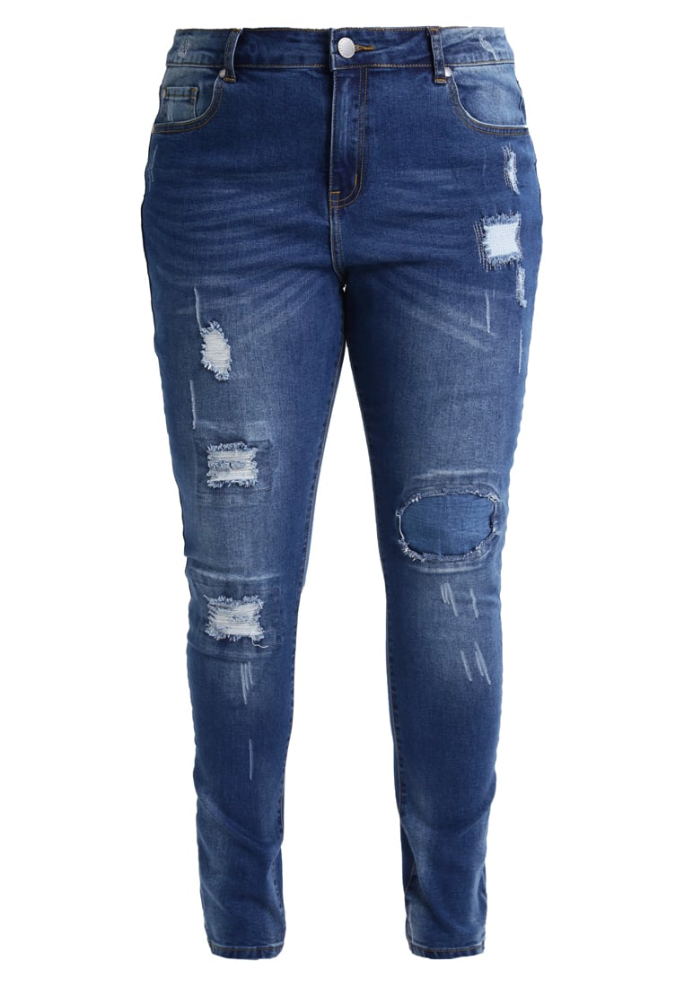 City Chic JEAN PATCHED UP Jeansy Slim fit darkblue denim - 00113156
