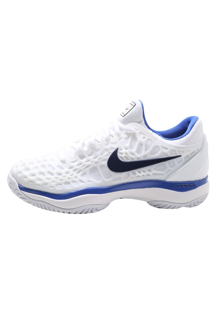 Nike Performance AIR ZOOM CAGE 3 HC Buty multicourt white/binary bluemega blue - 918199