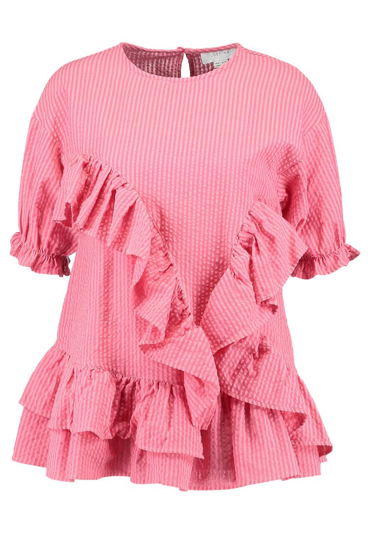 Lost Ink EXTREME FRILL SMOCK Bluzka pink