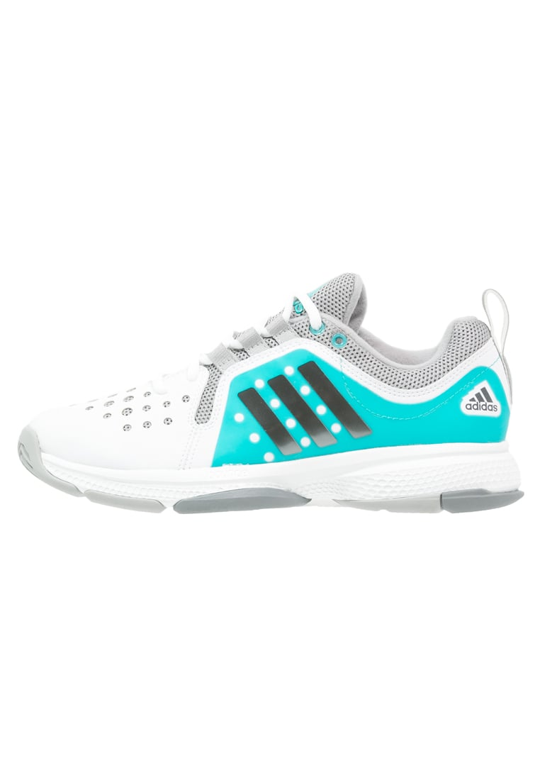 adidas Performance BARRICADE CLASSIC BOUNCE Buty do tenisa Outdoor white/night metallic/shock green - IUZ08