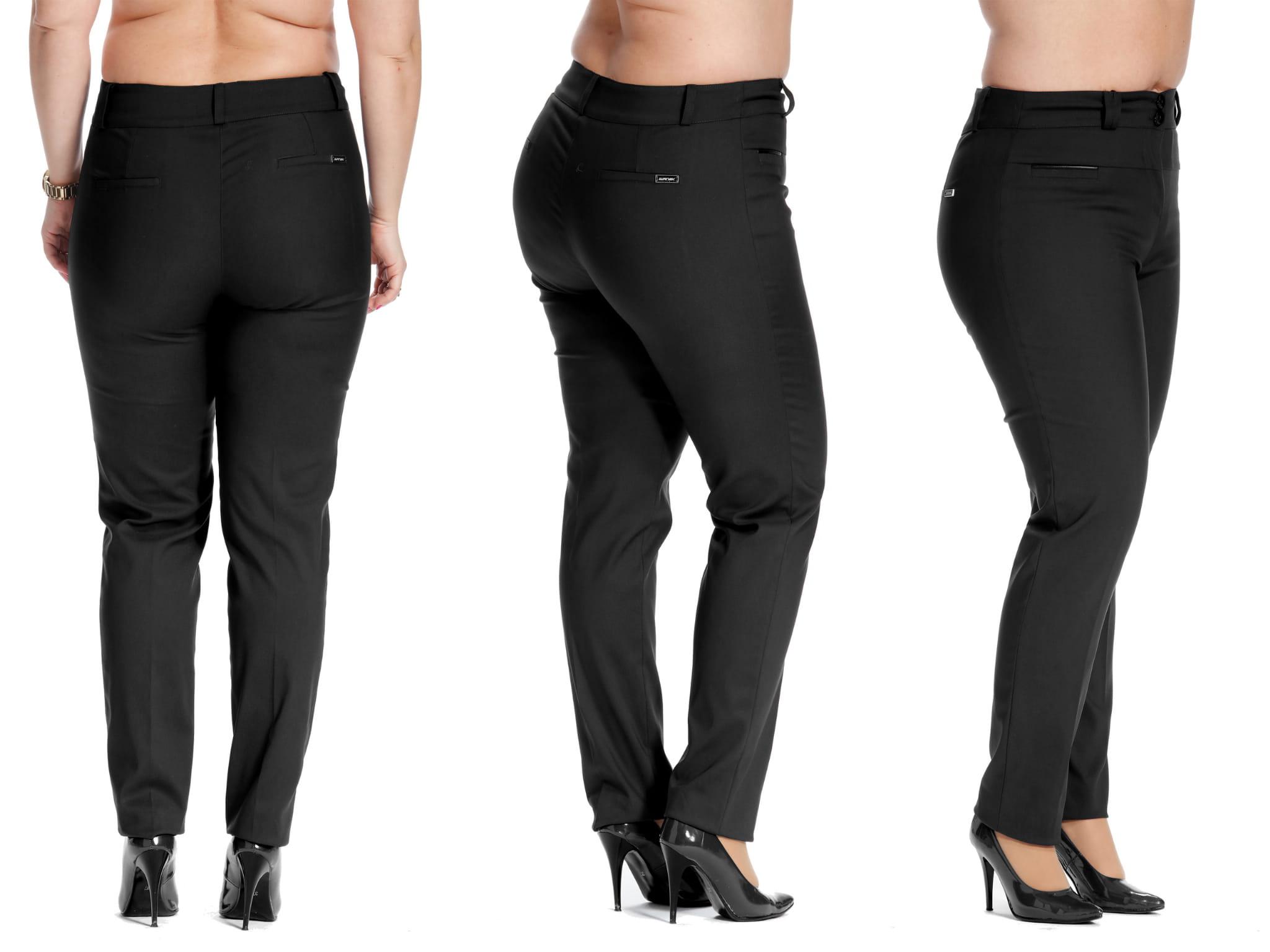 Casualowe czarne spodnie cygaretki w kant PLUS SIZE NOWOŚĆ rozmiar 56 – Moda Size Plus
