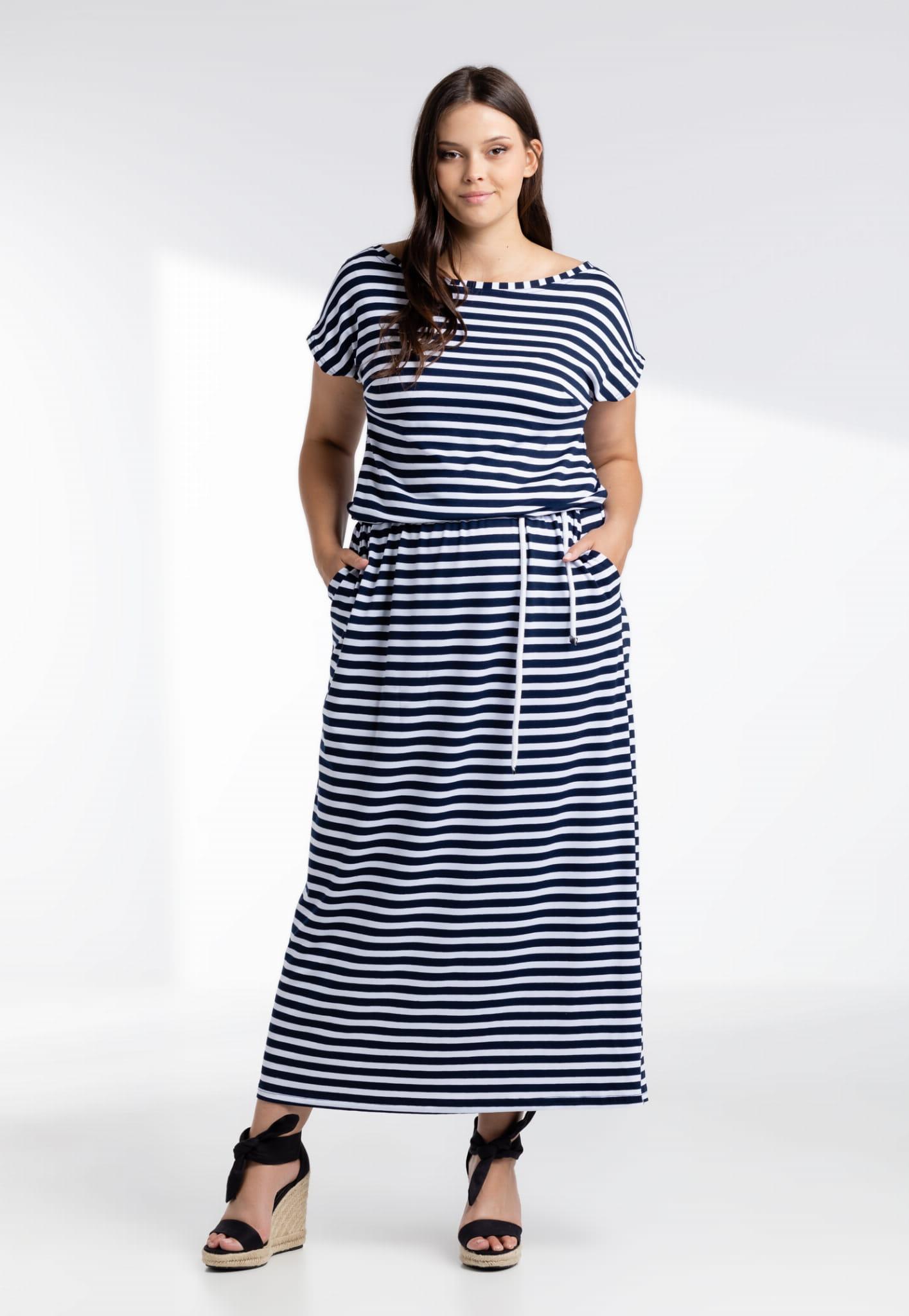 Sukienka Sukienka Susana maxi w granatowe paski XXL OVERSIZE LATO