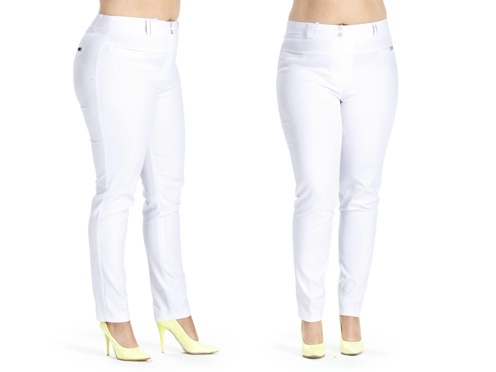 Białe klasyczne spodnie w kant cygaretki PLUS SIZE rozmiar 52 – Moda Size Plus