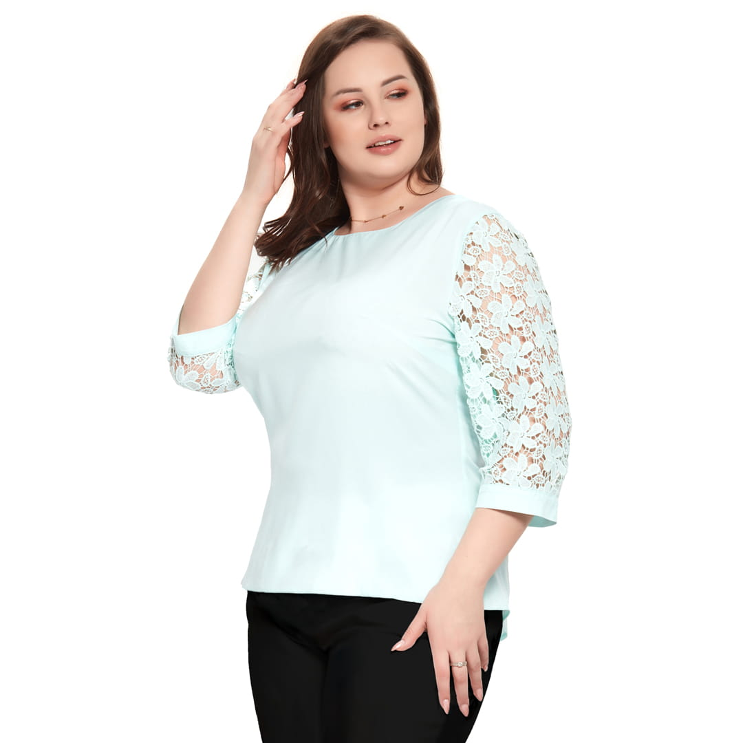 Bluzka Marta w kolorze mięty z koronkowym rękawem XXL OVERSIZE WIOSNA rozmiar 52 – Moda Size Plus