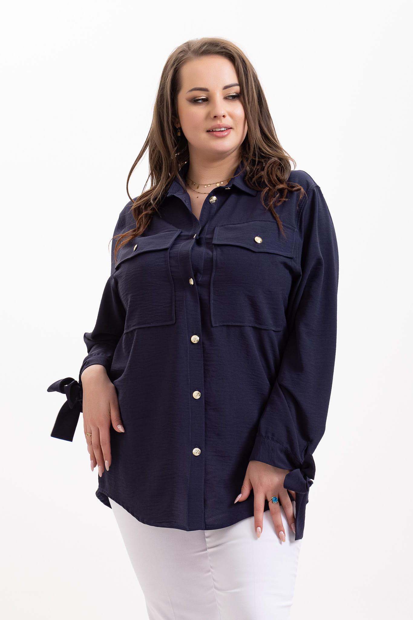 Granatowa koszula Audrey XXL OVERSIZE WIOSNA rozmiar 52 – Moda Size Plus