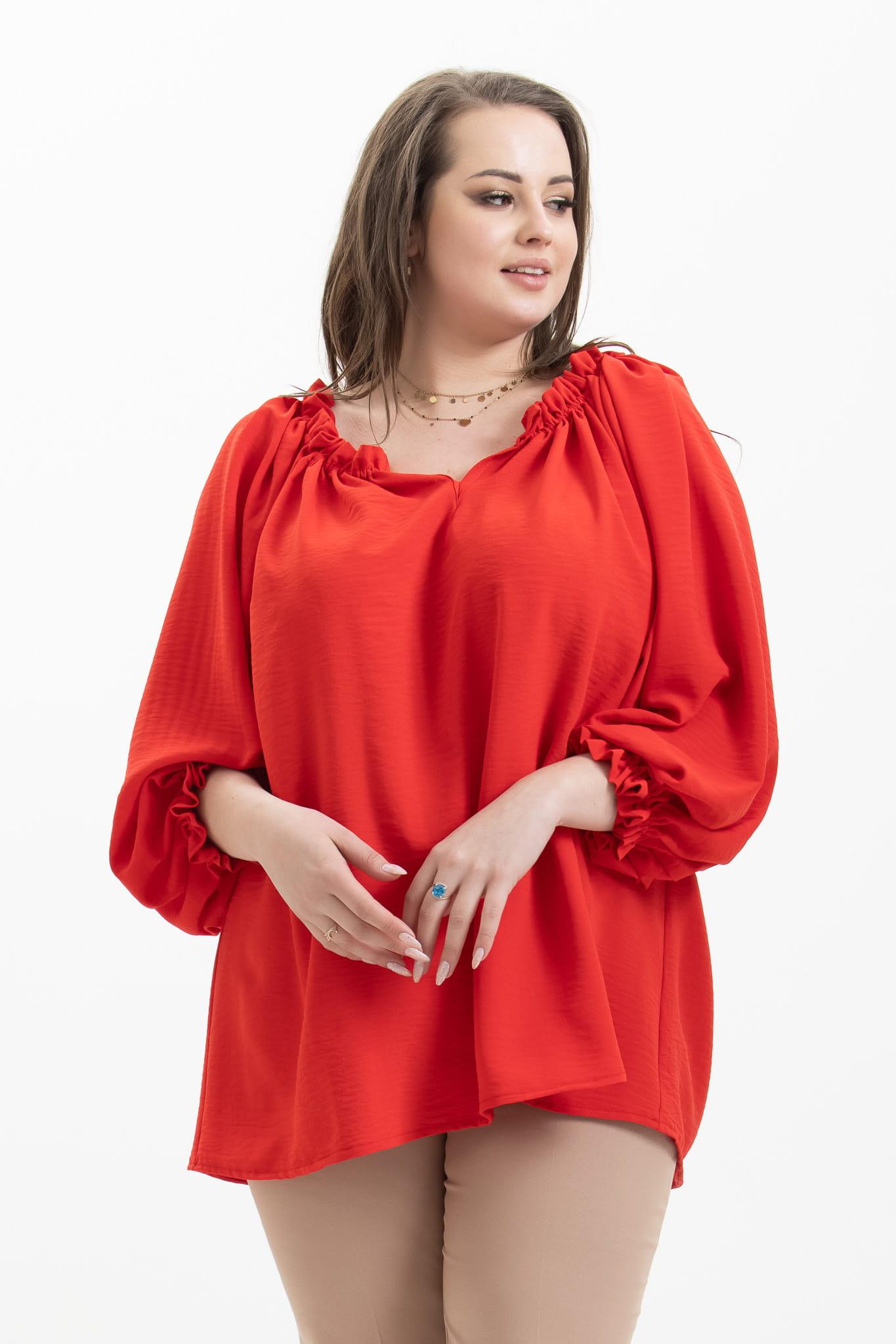 Czerwona bluzka hiszpanka Noemi XXL OVERSIZE WIOSNA rozmiar UNI