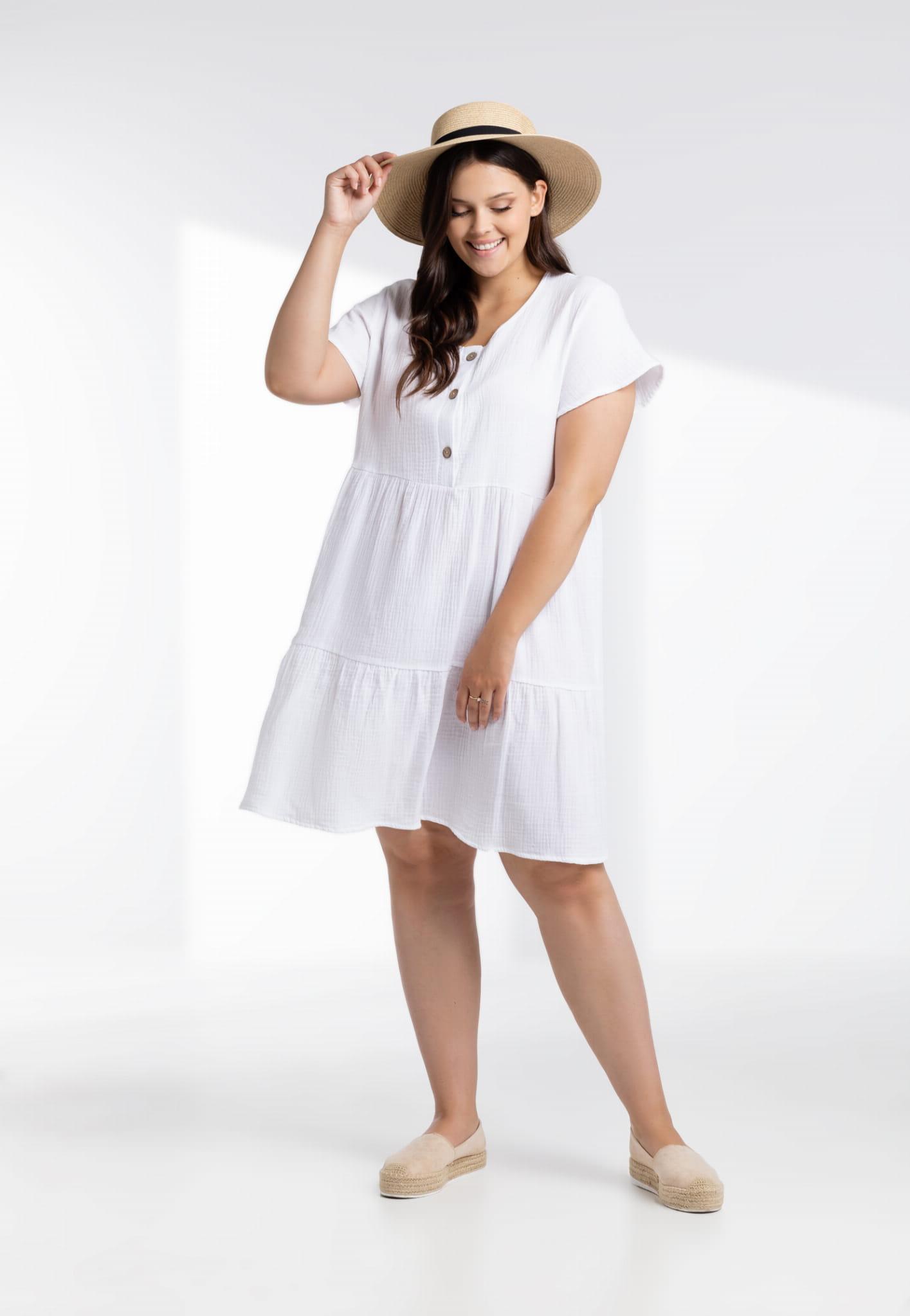 Sukienka Biała sukienka Scarlett z muślinu XXL OVERSIZE LATO