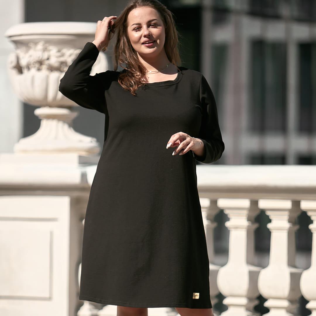 Czarna sukienka Klara XXL OVERSIZE JESIEŃ rozmiar 54 – Moda Size Plus