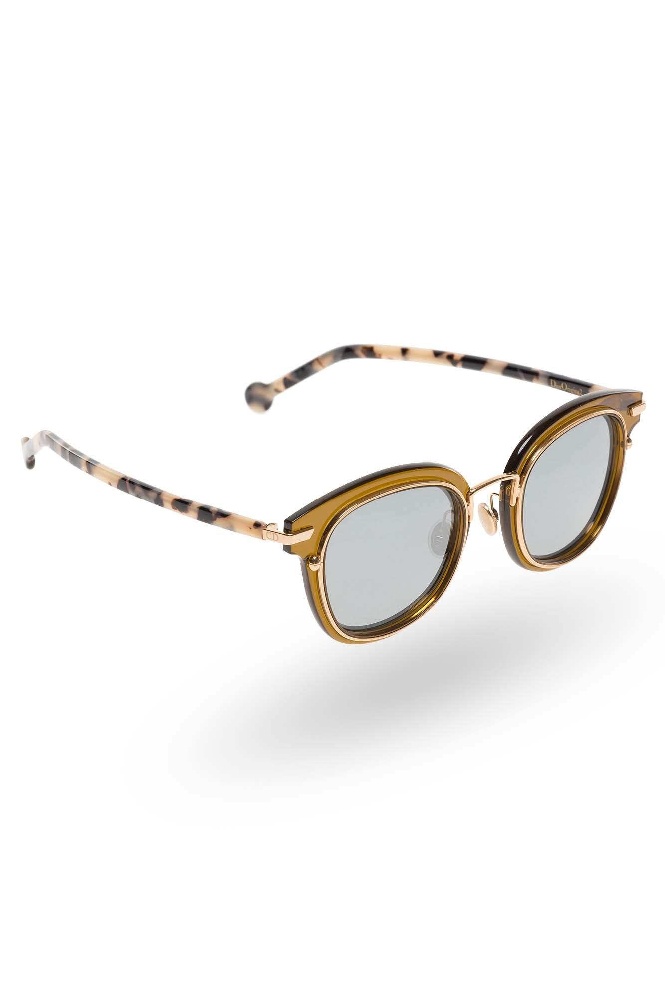 Brązowe okulary Dior z motywem panterki rozmiar Uniwersalny