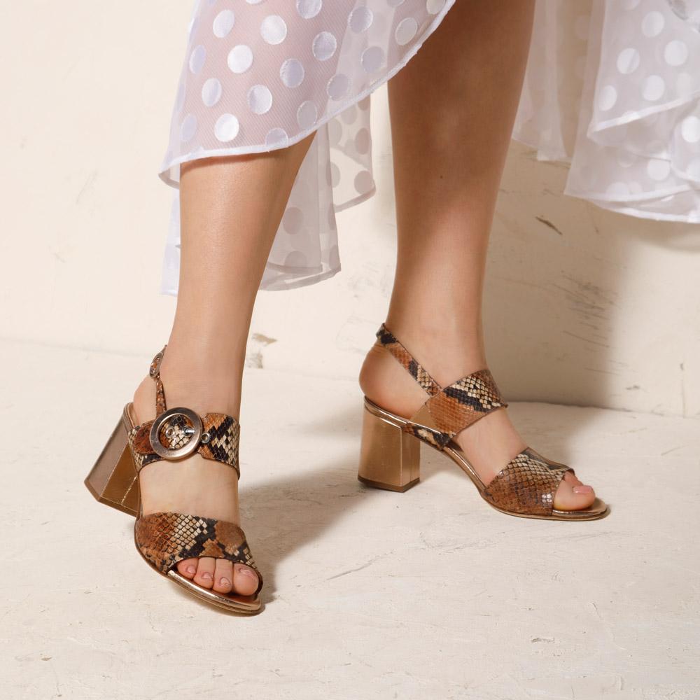 Sandały Damskie sandały na słupku ze skóry w wężowy wzór