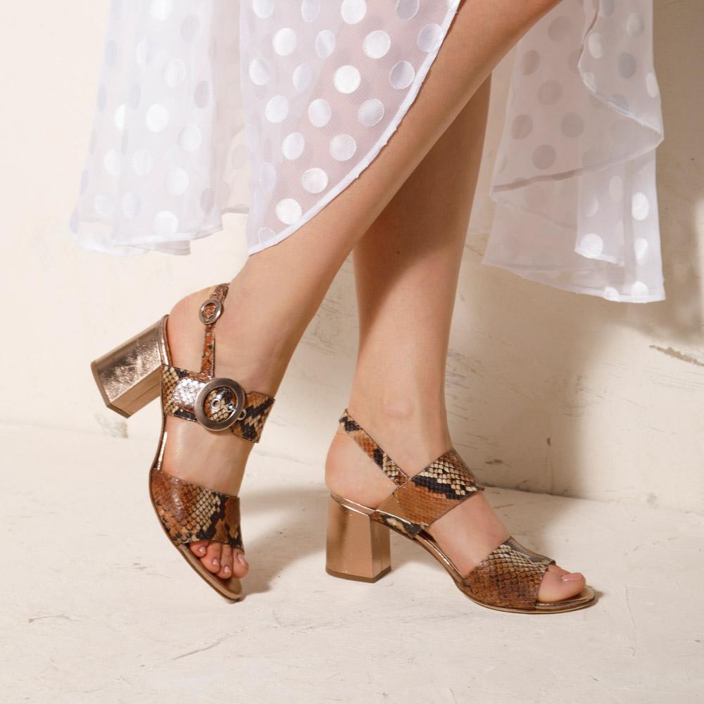 Sandały Damskie sandały na słupku ze skóry w wężowy wzór 2