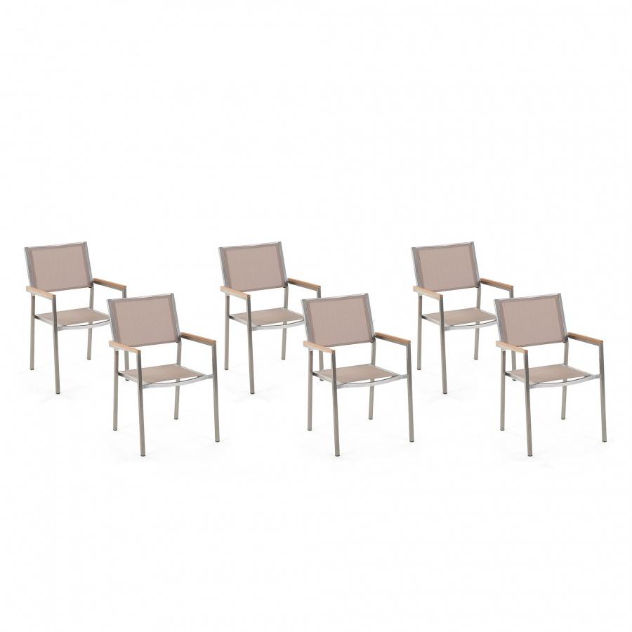 Zestaw do ogrodu 6 krzesła beżowy stal szlachetna GROSSETO