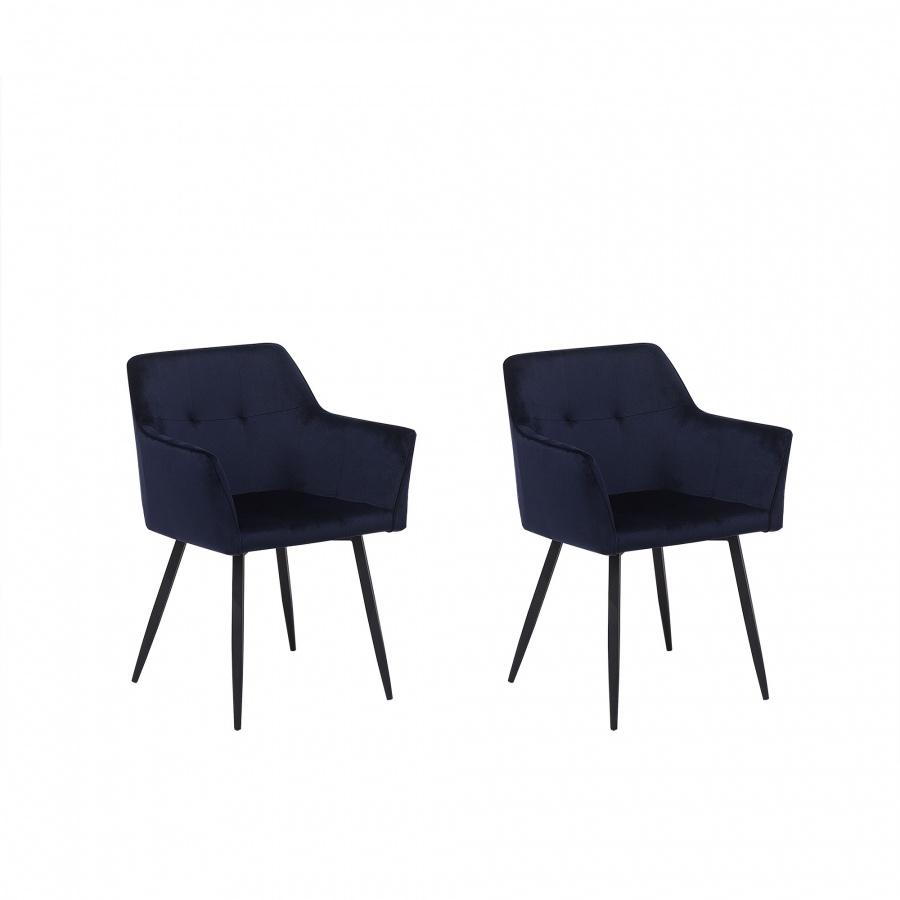 Zestaw do jadalni 2 krzesła welwet ciemnoniebieskie Cristiano