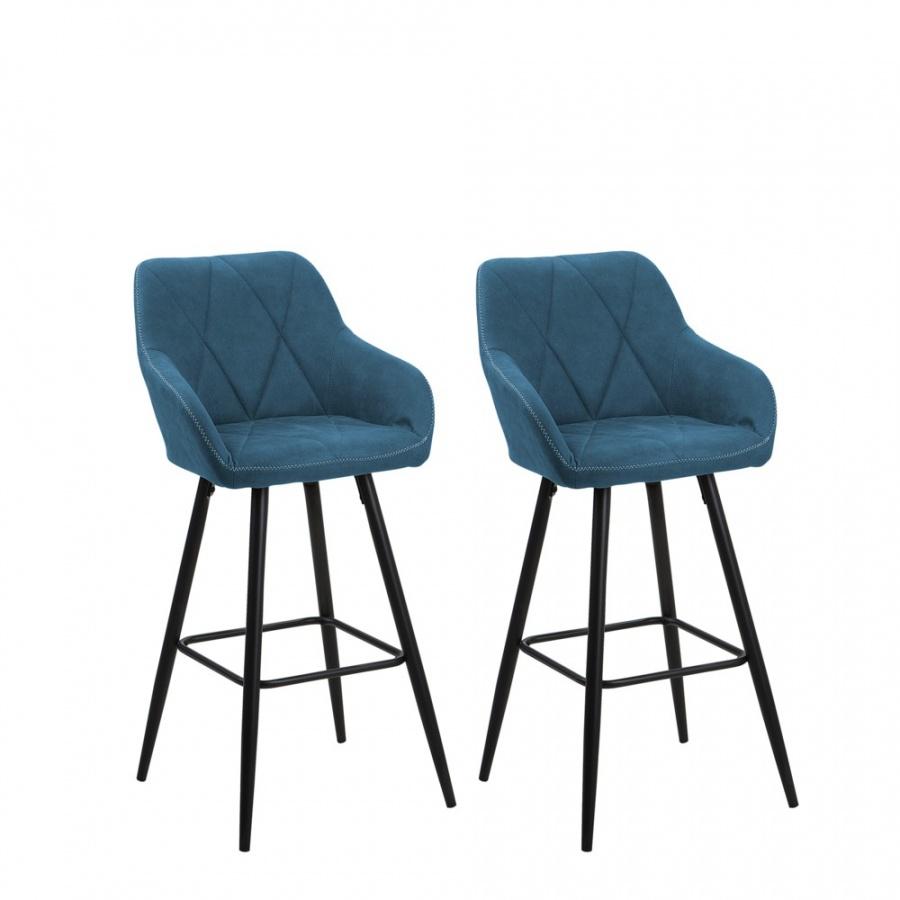 Zestaw 2 krzeseł barowych niebieski DARIEN