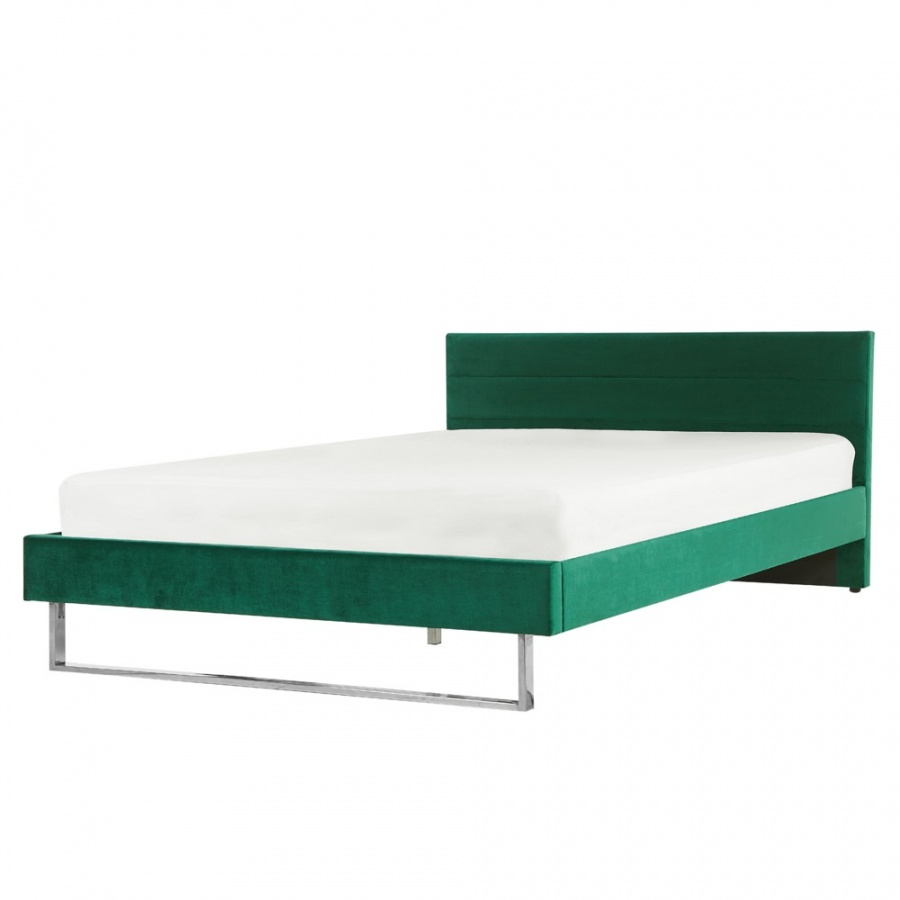 Łóżko welurowe 180 x 200 cm zielone BELLOU