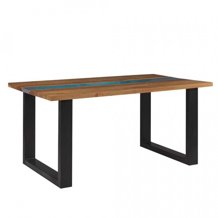 Stół do jadalni drewniany 160 x 90 cm jasne drewno z czarnym i niebieską żywicą epoksydową RIVIERA