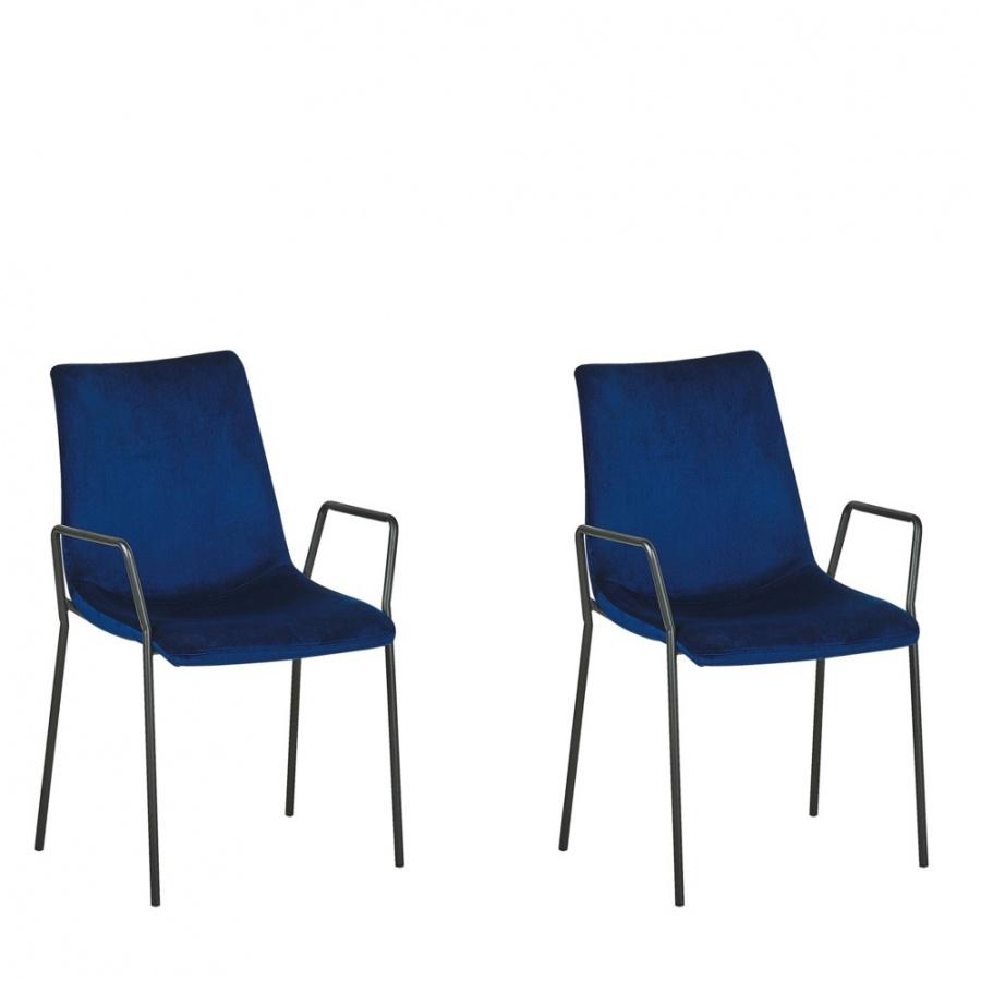 Zestaw 2 krzeseł do jadalni welurowy ciemnoniebieski JEFFERSON