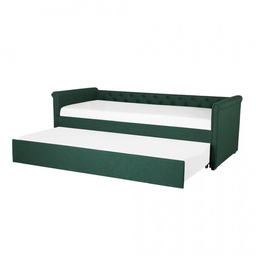 Łóżko wysuwane tapicerowane 90 x 200 cm zielone LIBOURNE