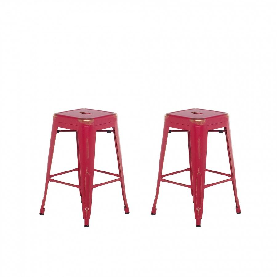 Zestaw 2 krzeseł barowych czerwono-złote wysokość 60 cm Faggio BLmeble