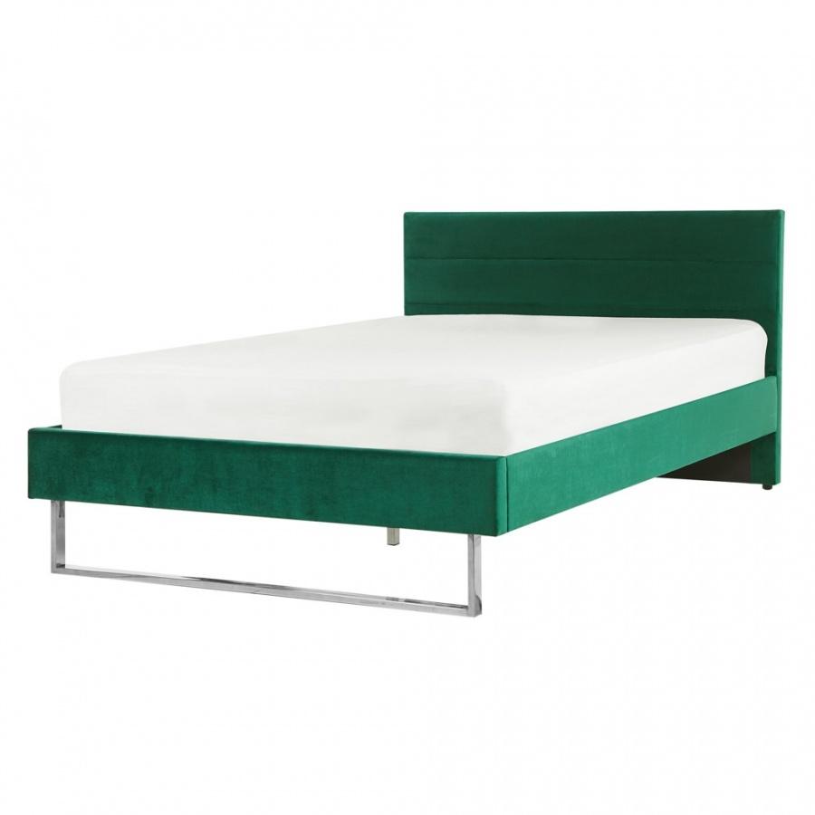 Łóżko welurowe 140 x 200 cm zielone BELLOU