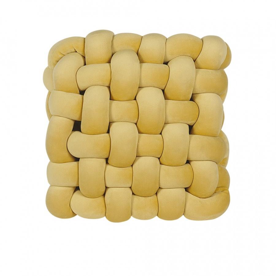 Poduszka dekoracyjna supeł 30 x 30 cm żółta SIRALI