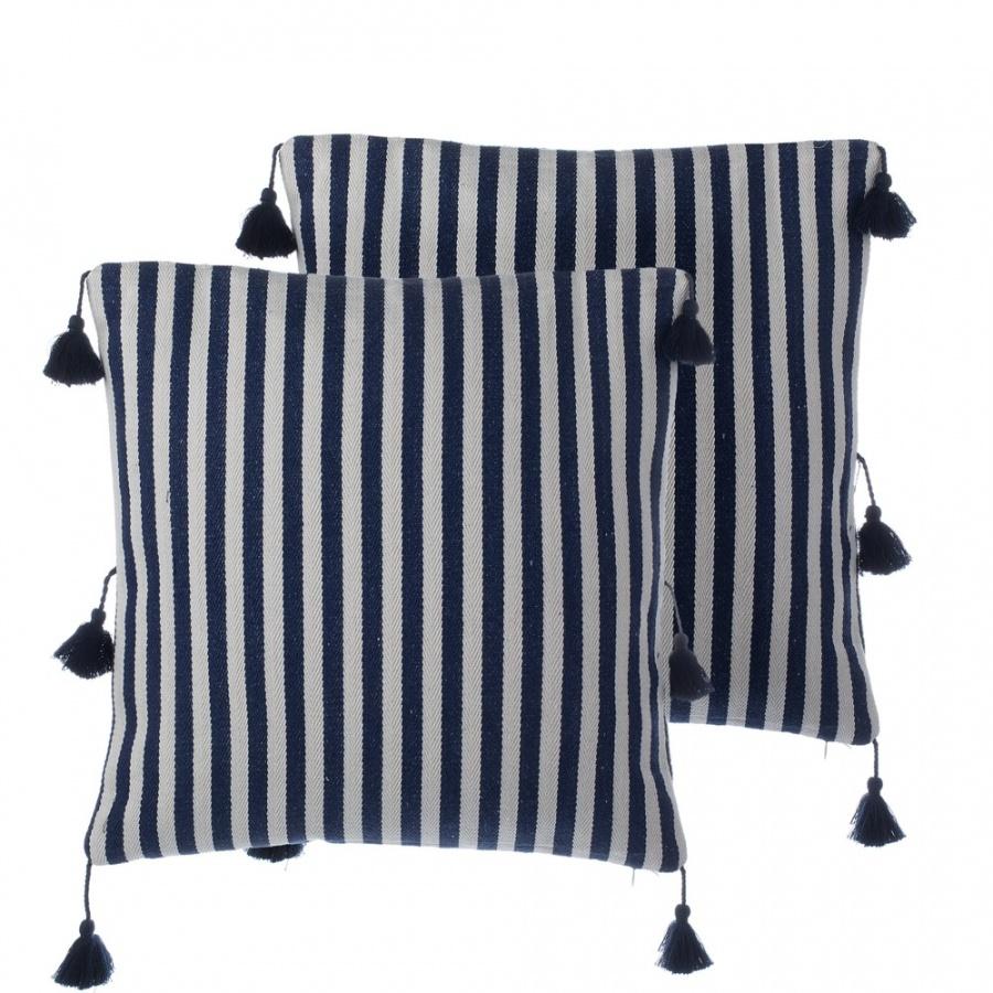 Zestaw 2 poduszek dekoracyjnych z frÄ™dzlami w paski 45 x 45 cm niebieski AMARYLLIS