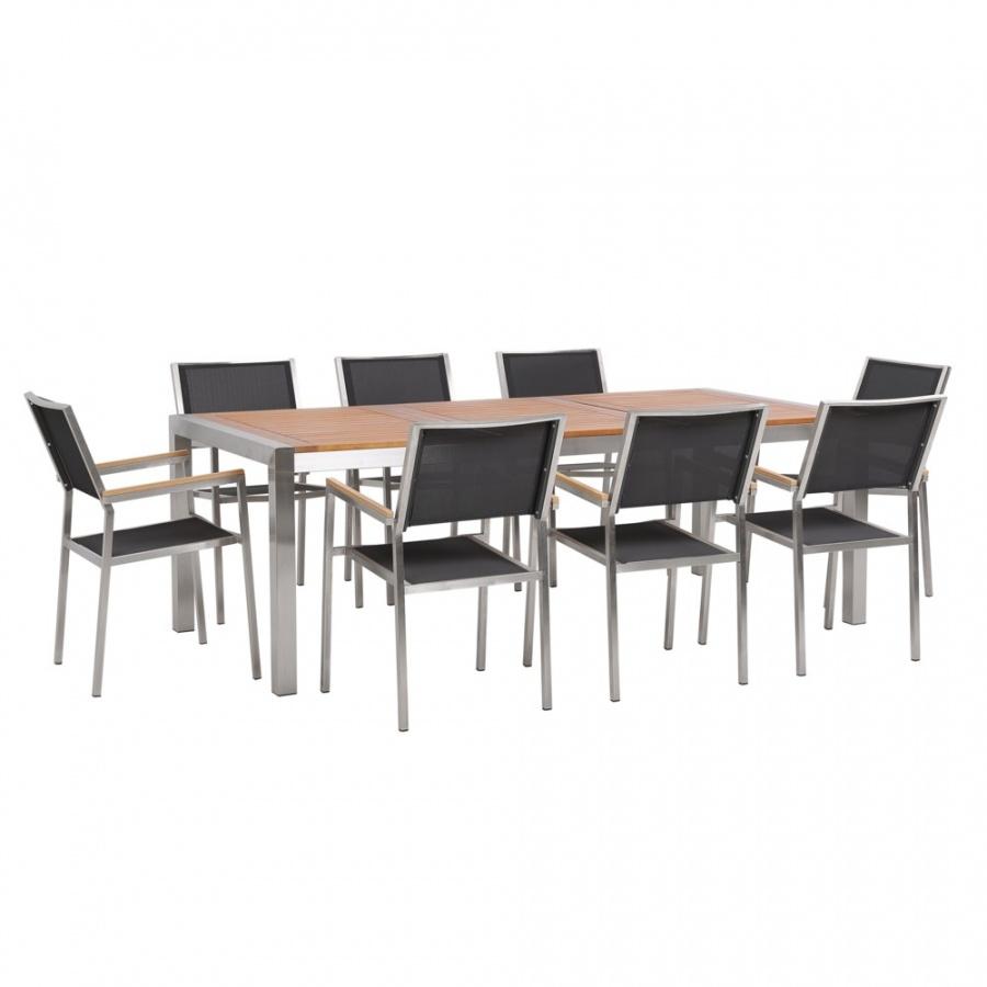 Zestaw ogrodowy stół drewniany eukaliptus i 8 krzeseł szarych GROSSETO