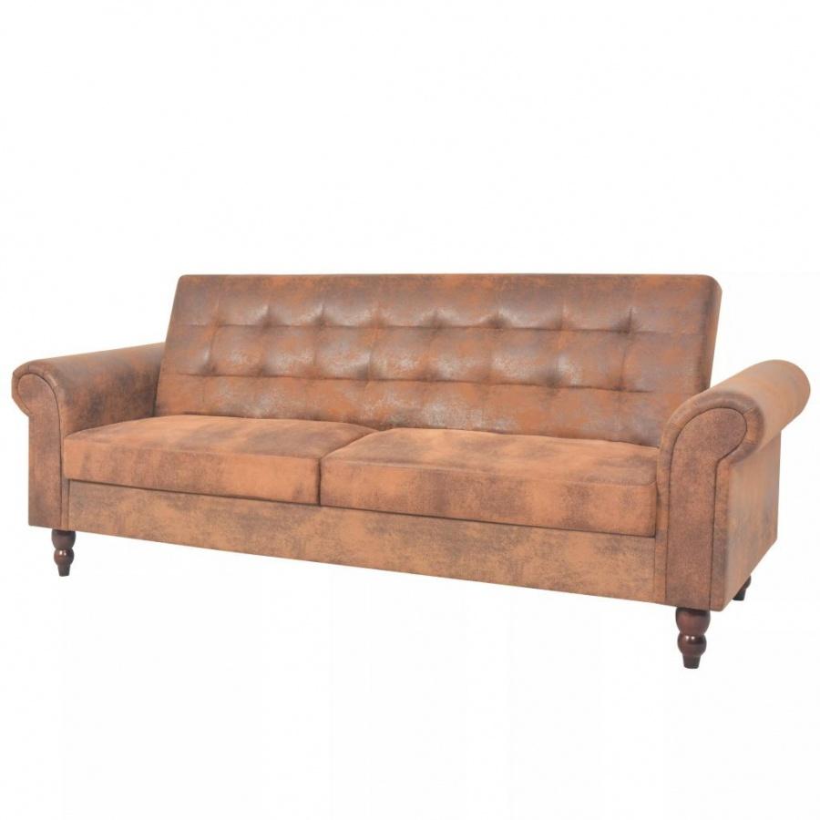 Rozkładana sofa z podłokietnikami, sztuczny zamsz, brązowa
