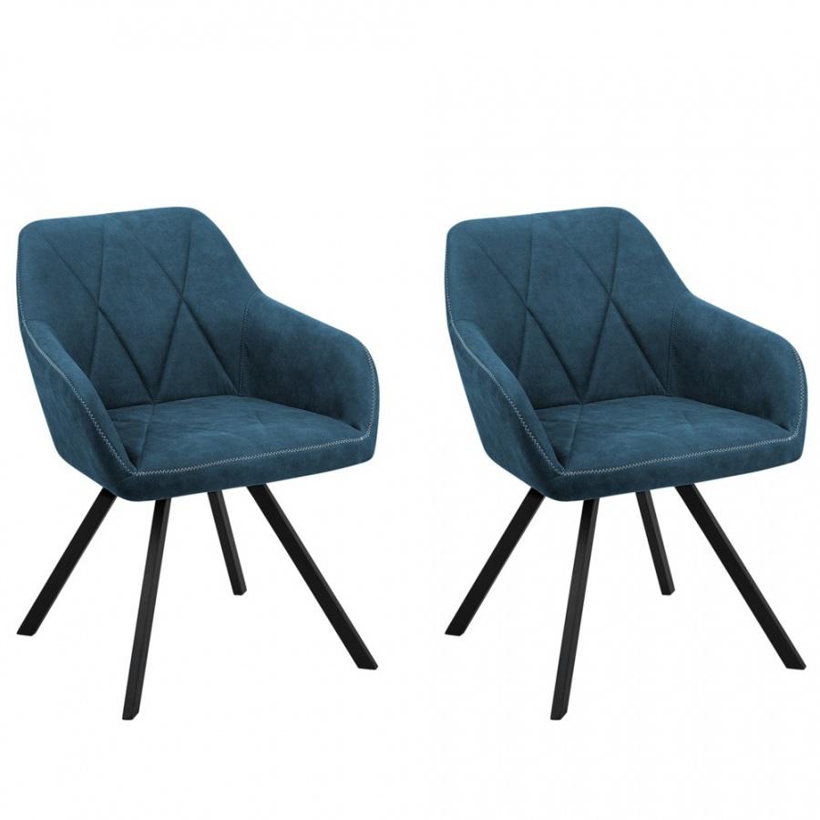 Zestaw 2 krzeseł niebieski MONEE