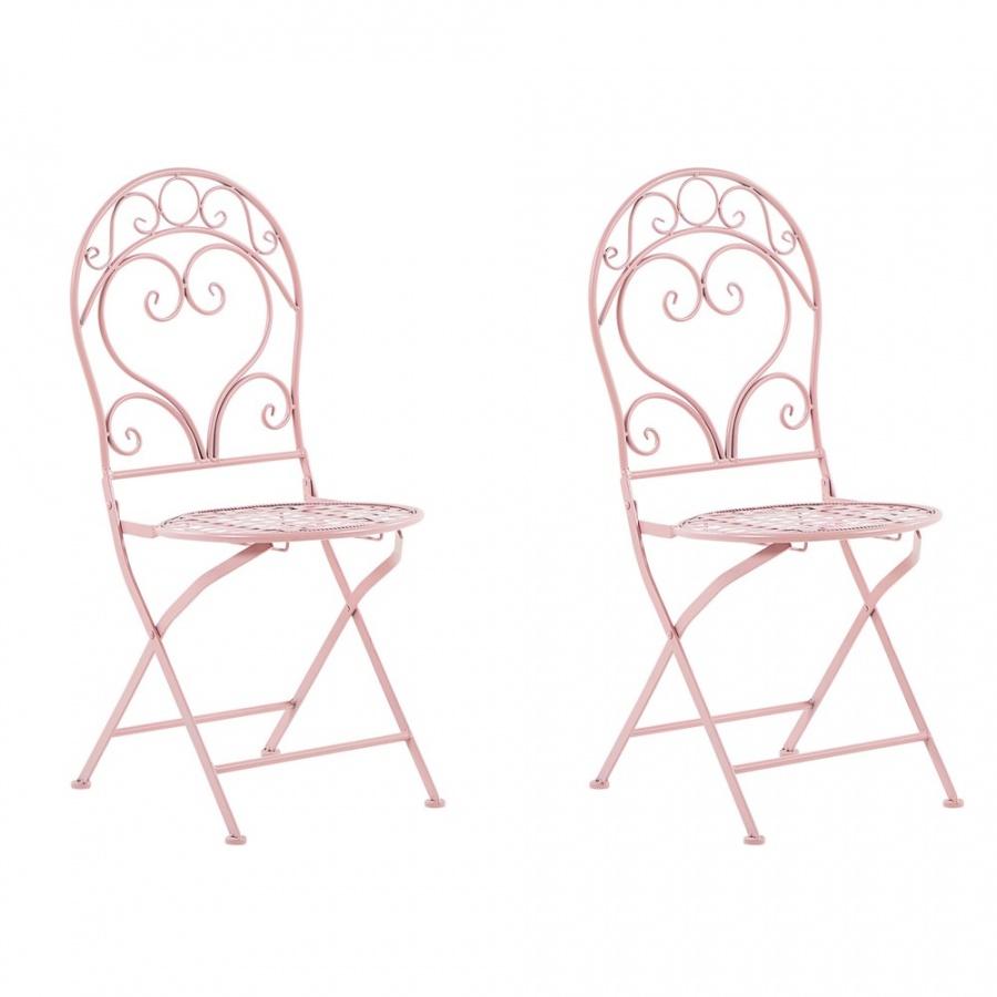 Zestaw 2 krzeseł ogrodowych metalowy różowy ALBINIA