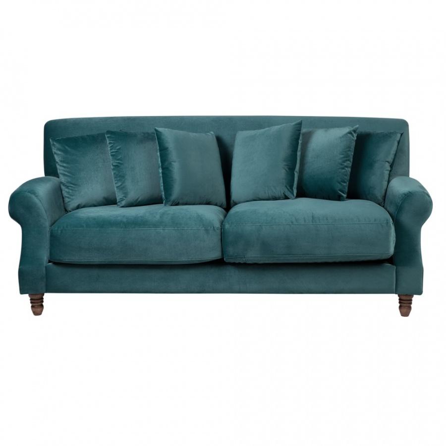 Sofa 3-osobowa welurowa lazurowa EIKE