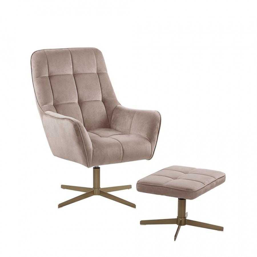 Fotel z podnóżkiem welurowy beżowy MOLLE