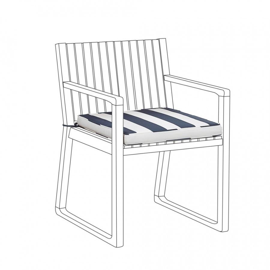 Poduszka na krzesło ogrodowe niebiesko-biała SASSARI