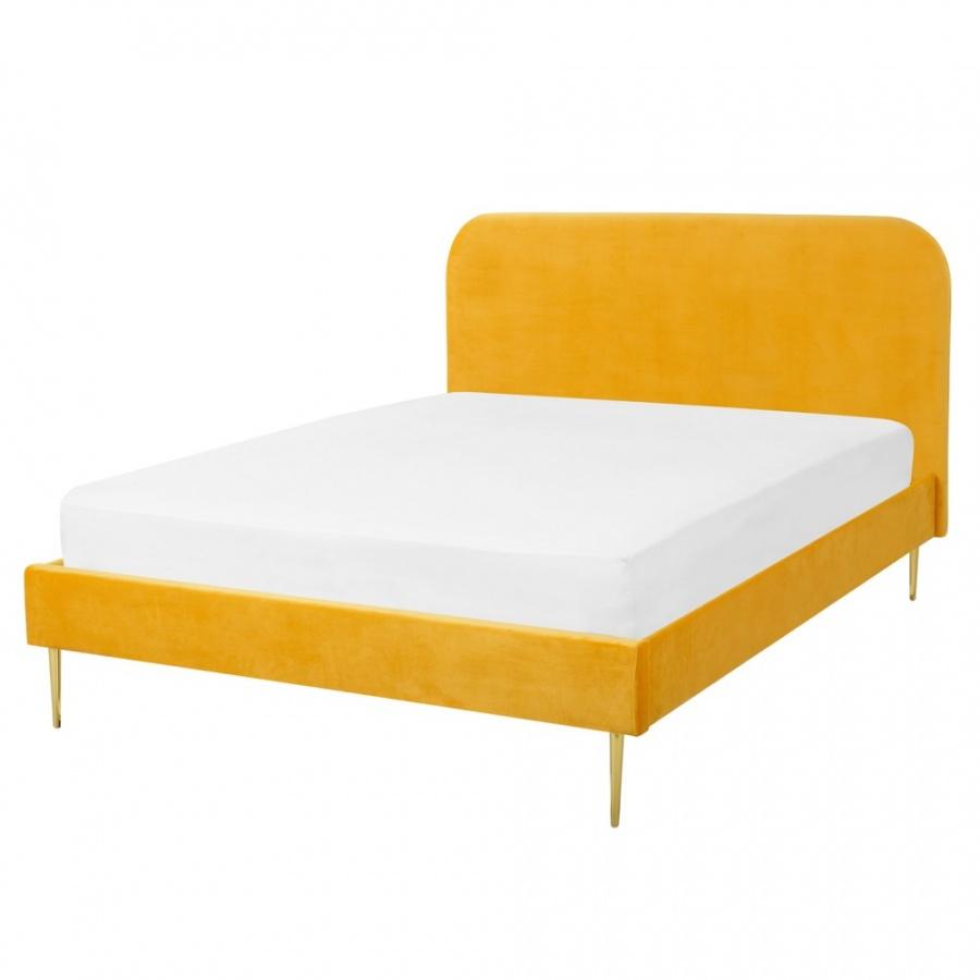 Łóżko welurowe 180 x 200 cm żółte FLAYAT