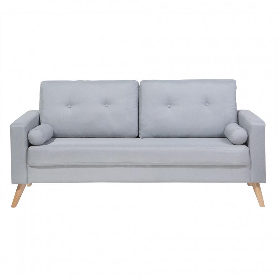 Sofa dwuosobowa tapicerowana jasnoszara Marcello BLmeble
