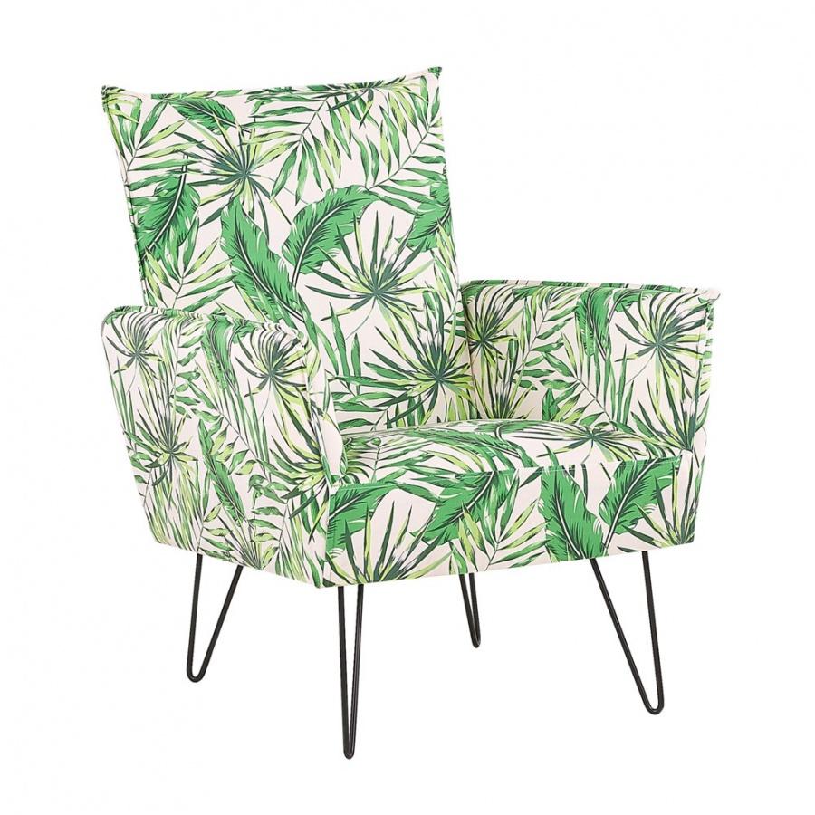 Fotel w liście biało-zielony RIBE