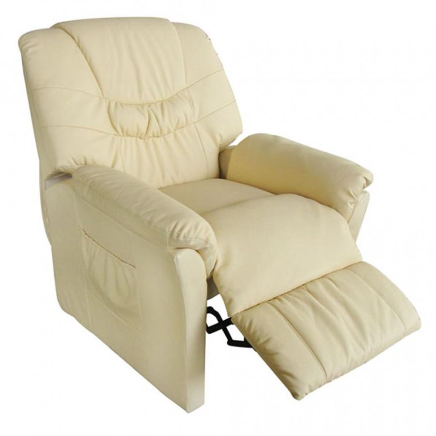 Fotel do masażu ze sztucznej skóry kremowy