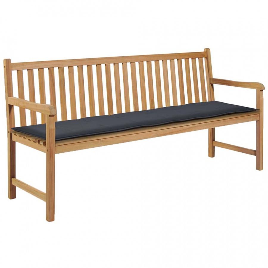 Poduszka na ławkę ogrodową, antracytowa, 180x50x3 cm