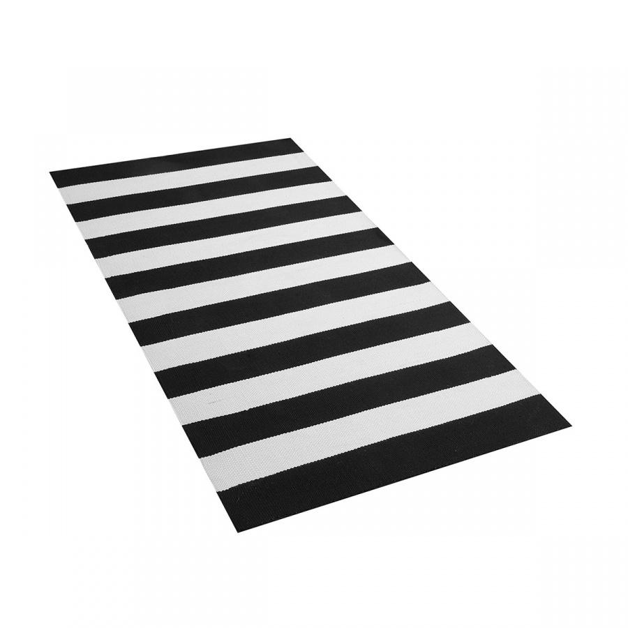 Dywan na zewnątrz czarno-biały 80 x 150 cm TAVAS