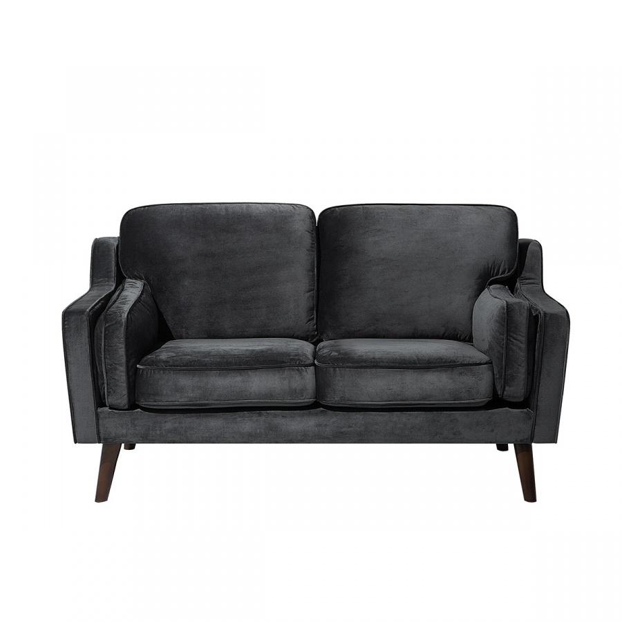 Sofa dwuosobowa tapicerowana ciemnoszara Cecilia