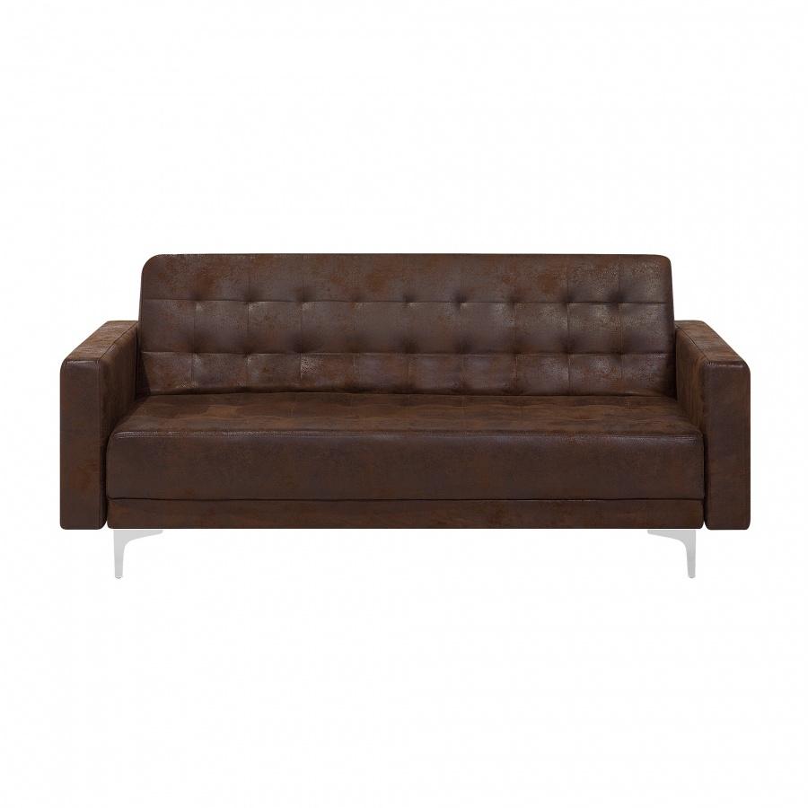 Sofa trzyosobowa imitacja skóry Old Style brąz ABERDEEN