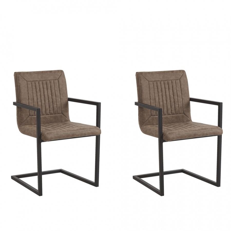 Zestaw 2 krzeseł do jadalni ekoskóra brązowy BRANDOL
