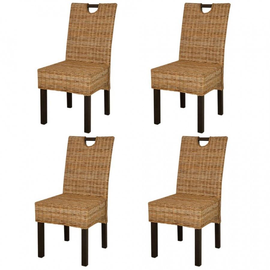 Krzesła do jadalni, 4 szt., rattan Kubu i drewno mango
