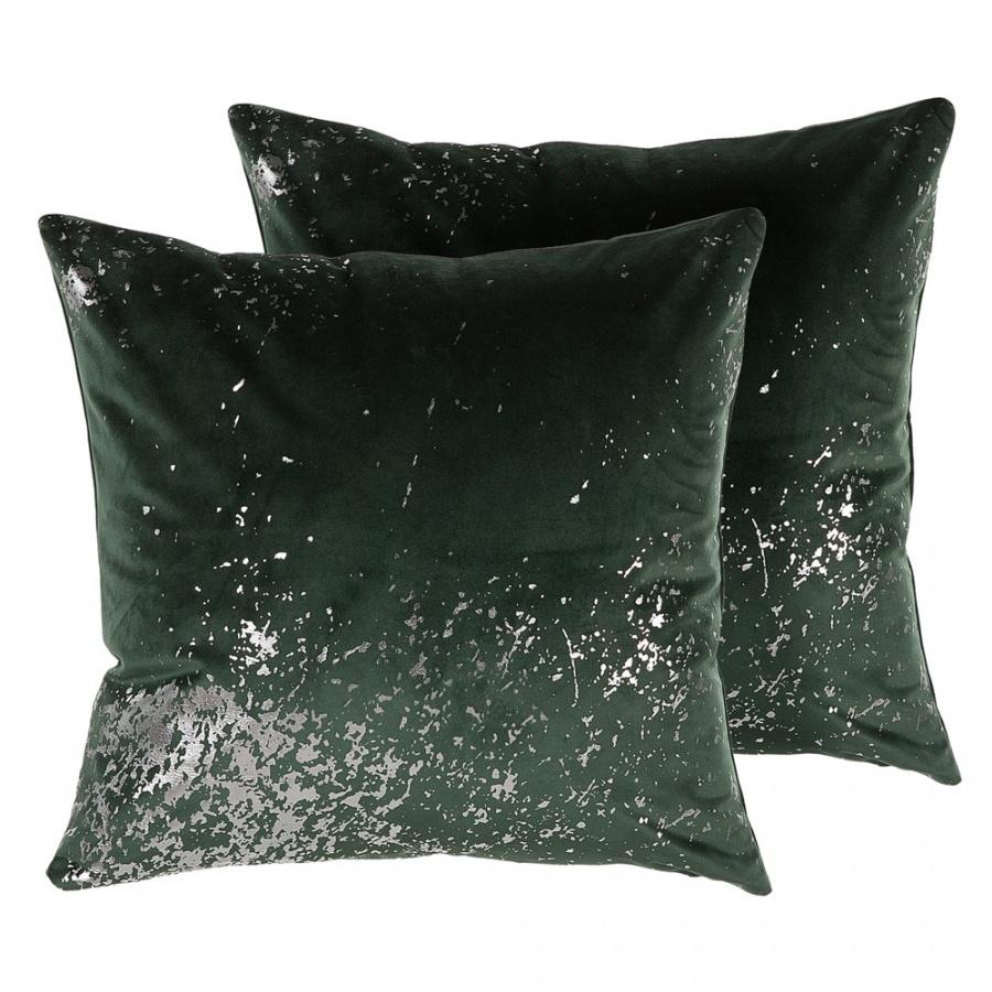 Zestaw 2 poduszek dekoracyjnych welurowy 45 x 45 cm ciemnozielony HONEYWORT