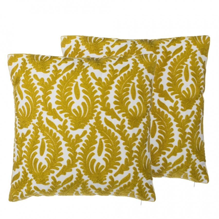 Zestaw 2 poduszek dekoracyjnych haftowanych 45 x 45 cm żółty PRIMULA