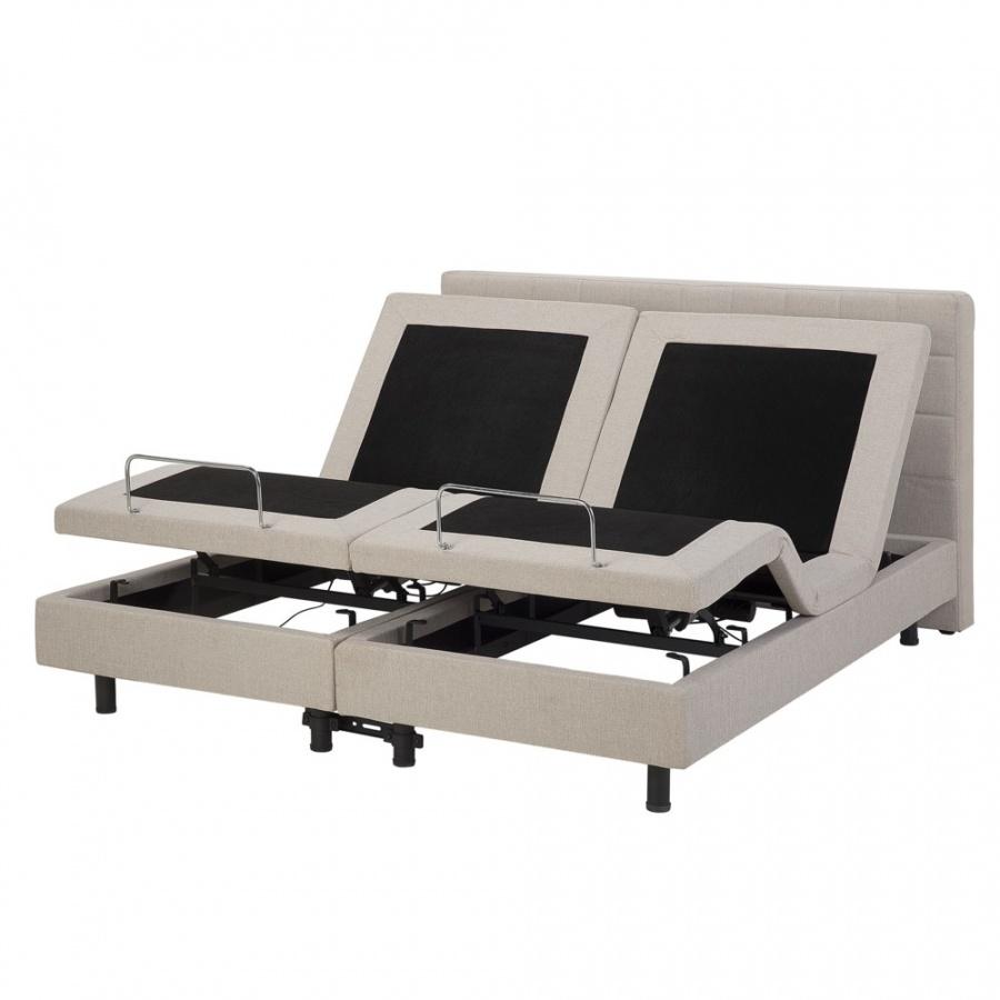Łóżko regulowane tapicerowane 160 x 200 cm beżowe DUKE